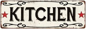 KITCHEN Country Style w/Red Stars Vintage Look Metal Sign 106180078001