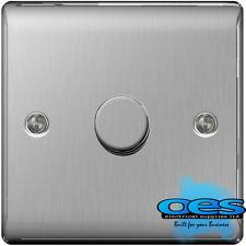 Masterplug Nbs81p 2-way Metal Brushed Steel Push On/ off Dimmer Switch 400 W