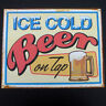 Vintage Tin Metal Ice Cold Beer On Tap Sign Retro Home Bar/Pub/Tavern Wall Decor