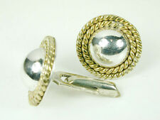 Brass Rope Border Heavy & Well Made 1364 Cuff Links Solid Sterling Silver w/