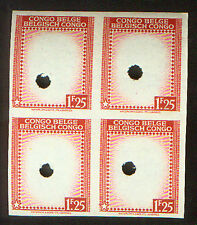 BELGIAN CONGO 1F25 BLOCK PRINTER PROOFS by WATERLOW & SONS HOLE PUNCHED of 1942