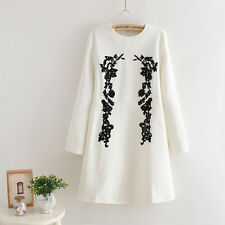 Women long sleeve mini dress color white with black crochet patch size US S new