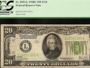 1928 C $20 DOLLAR LGS LIGHT GREEN SEAL GOLD ON DEMAND NOTE BETTER Fr 2053-L PCGS
