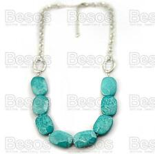 """IMITATION FACETED TURQUOISE beads SILVER FASHION NECKLACE retro 23""""LONG chain UK"""