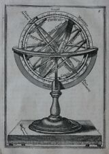 Original Antigua de impresión con esfera, instrumento astronómico, Mazo, 1683