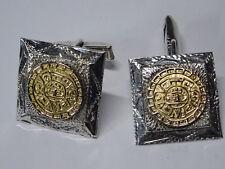 Maja Aztec Calendar Manschettenknöpfe  Silber Cuff Links Gold Azteken Nr. 123