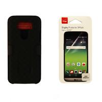 Verizon Black Hardshell Case w/ Belt Holster and Screen Protector Pack for LG G5