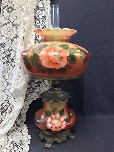 "Vintage Hedco 3 Way GWTW Table Lamp Hand Painted Orange Floral Design 22"" tall"