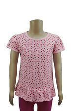 Girls Ex Debenhams Jersey T-Shirt Top Pink Polka Dots Age 12 Months to 6 Years