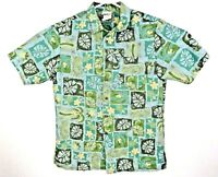 Cintas Mens Size Small Green/Blue/Gold Polyester Tropical Casual Work Shirt EUC