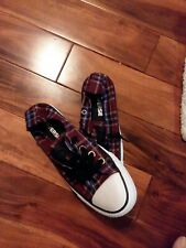 Converse All Star sneakers women's Size 5 Burgundy plaid Canvas Shoes