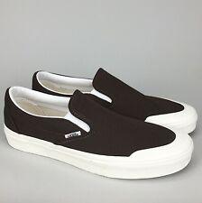 New VANS Classic Slip-On 1 (Demitasse) Brown White Canvas Skate Shoe