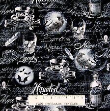 "Halloween Fabric - Wicked Gothic Moon Raven Skull - Timeless Treasures 22"""