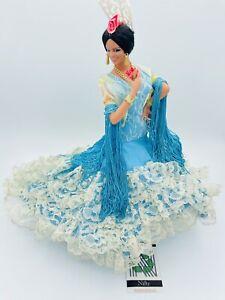 "Vintage Marin Chiclana 13"" Spanish Flamenco Dancer Doll Figure Teal Blue LOVELY"