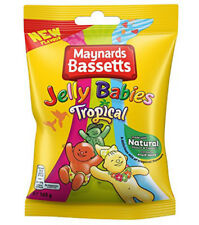 MAYNARDS BASSETTS TROPICAL JELLY BABIES 165G KIDS SWEETS BAG TREATS PARTY NEW