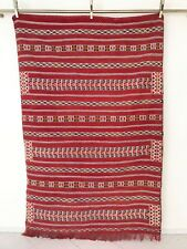 Moroccan Berber Kilim Rug Carpet - Handmade - Deep Red Color & Fringe - 7.8 x 5