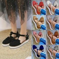 Women's Ladies Tassel Close Toe Walking Platform Holiday Summer Sandals Shoes