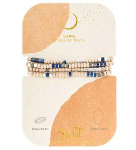 Scout Wood Stone Metal Wrap LAPIS & SILVER Bracelet TRUTH Necklace Jewelry