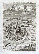 MALTA, VALETTA CITY PLAN Allain Mallet original antique map 1719