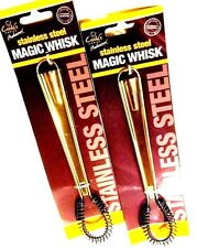 2 x  MAGIC WHISK STAINLESS STEEL FOR EGG SAUCES SMOOTH CREAM HAND WHISKING H1190