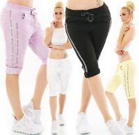 ITALY Damen Bermuda Capri Shorts kurze Hose Baggy Chino Streifen Spitze 36-40