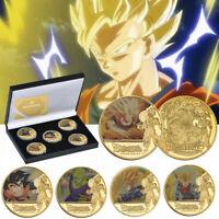 WR 5pcs Dragon Ball Z Gold Commemorative Coin Goku Vegeta Collection In The Box
