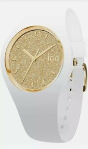Ice Watch - ICE Glitter White/Gold Women's Wristwatch Silicone Strap Size M