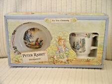 WEDGWOOD PETER RABBIT 2 PIECE CHINA CHRISTENING SET w/Box - 1991 Beatrix Potter
