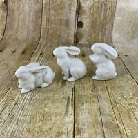 White Bunny Rabbit Set Of 3 Porcelain