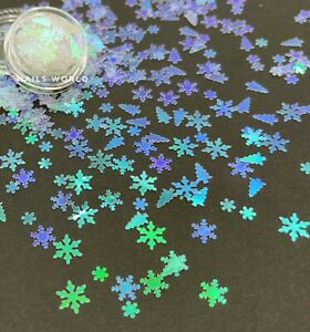 X20 Mix Christmas Tree Star Holographic 3D Nail Art Glitter Sequins Xmas