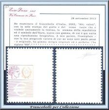 2002 Italia Repubblica Alti Valori Solo stampa rosso e giallo Cert. Diena **