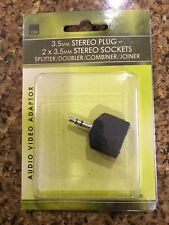 AUDIO ADAPTOR / SPLITTER / DOUBLER - 2 x 3.5mm Stereo Sockets to 3.5 Stereo Plug