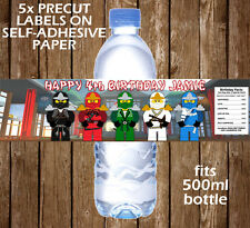 Ninjago Lego Personalised Water Bottle Labels Children Birthday Party Favours