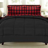 Buffalo Check Sheet Set Burgundy/Black and Solid Black Comforter