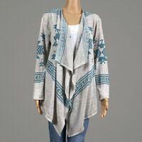 Bit & Bridle Aztec Southwestern Open Front Cardigan Sweater MEDIUM Blue Tan