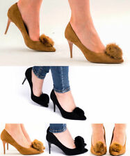 Women's Ladies Faux Suede Low Mid Heel Pom Pom Party Prom Stiletto Court Shoes