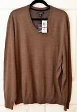 NWT Club Room Men's XXL Wool Blend Sweater V-Neck Dark Taupe