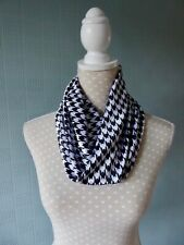 Black and white velvet snood, Houndstooth cowl scarf, checked single loop, gift