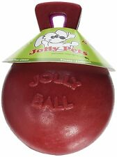 Jolly Pets Tug-N-Toss 4.5 inch Red | Rubber Ball with Handle Chew Toy for Dogs