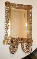 LARGE antique 1800's Art Deco ornate bronze mirror candle holder sconce fixture