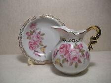 Vintage Lefton China  Pitcher and Bowl Set   Pink Roses With Gold Trim Design