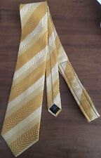 91% silk, 9% metal gold colored striped men's necktie by Countess Mara.