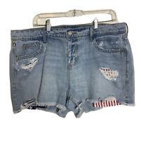 Old Navy Women Plus Size 14 Blue Raw Hem Shorts