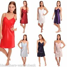 Ladies Womens Satin Short Nightdress Nightie Front Lace Detail 10 To 28 8 Colour