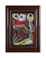 "PRINT OF ORIGINAL PAINTING ""RED MONSTER"" MARACHOWSKA ART + FRAME WITH GLASS"