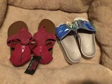 2 Pairs Girl's Iridescent Mermaid Slides & Pink Sandals Bobbie Brooks Size 13/1