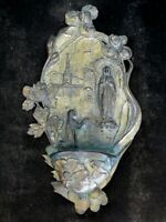 Art Nouveau Holy Water Font Virgin Mary Our Lady of Lourdes French Benetier