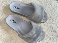 Womens Grey Fur Slippers Sliders Sandals Flat Shoes Size 4 Asos Casual