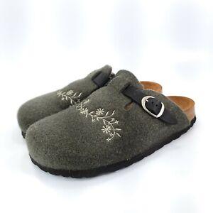 LL Bean Comfort Slip On Clog Womens Size 10 Olive Brown Black Slide