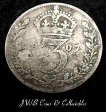 1907 Edward VII Silver Threepence Coin - Great Britain - Ref ; T/M